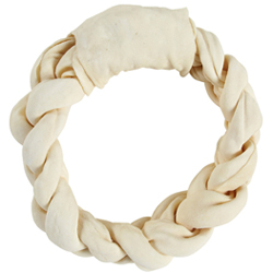 Braided rawhide chews for dogs
